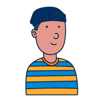 stripes shirt guy looking happy - drawing