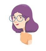 Lady with purple hair and eye glasses